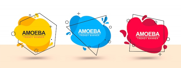 Banner with red, green, yellow and blue abstract shapes Premium Vector