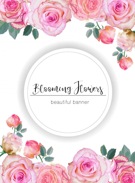 Banner with roses vector illustration Premium Vector