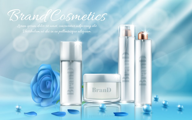 Banner with set of bottles and jars for facial mask, hand cream, body lotion, hair spray Free Vector