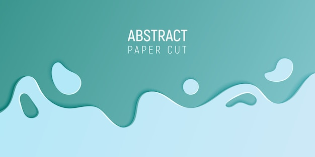 Banner with slime abstract background with cyan blue paper cut waves Premium Vector