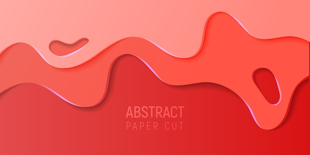 Banner with slime abstract background with red paper cut waves. vector illustration. Premium Vector