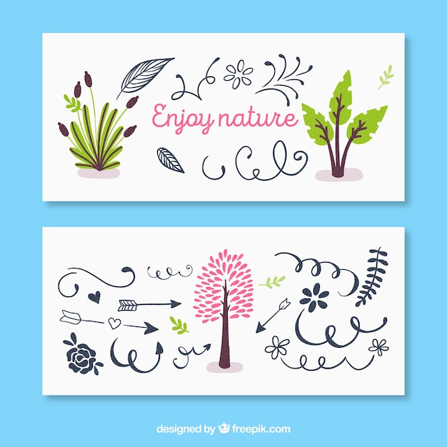Banner with tree and banner with curly ornaments Free Vector