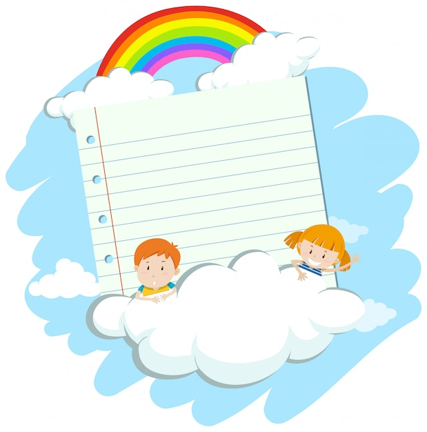 Banner with two kids in sky Free Vector