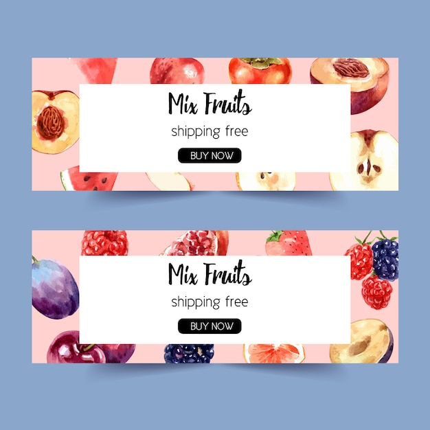Banner with various fruits concept, watercolor illustration template Free Vector
