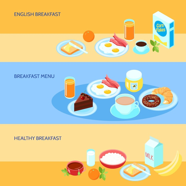 Banner with various types of breakfast Free Vector