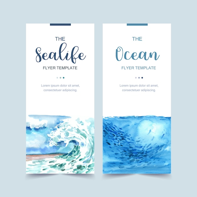 Banner with wave and fish concept, light blue themed illustration Free Vector