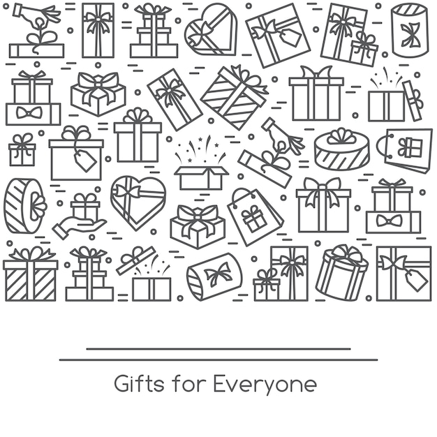 Banner with wrapped gift boxes pictograms with editable stroke collected in form of rectan Premium Vector