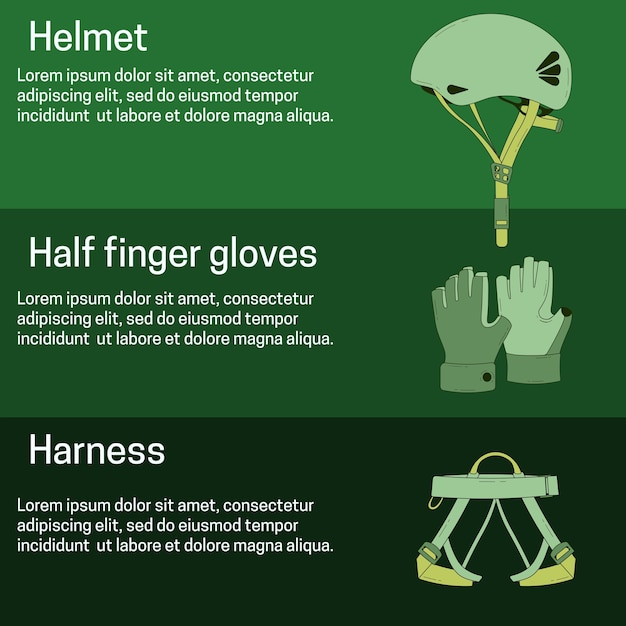 Banner with zip line equipment Premium Vector