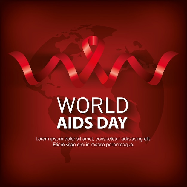 Banner world aids day with ribbon Free Vector