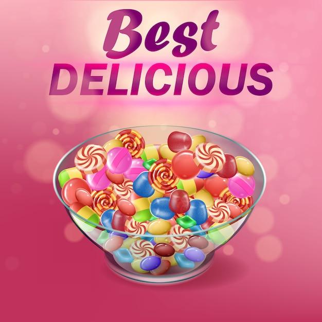Banner written best delicious on pink background. Premium Vector
