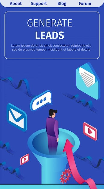 Banner written generate leads vector illustration  Vector