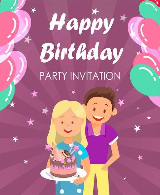 Banner written happy birthday party invitation. Premium Vector