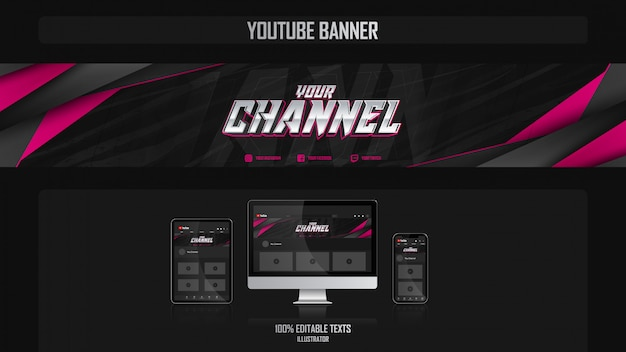 Premium Vector Banner For Youtube Channel With Music Concept