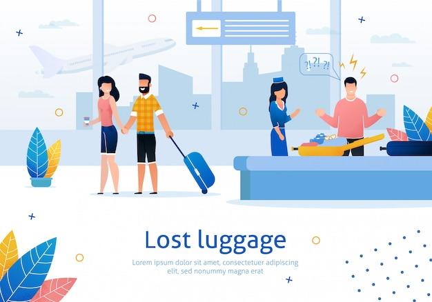 Потерянный или поврежденный багаж в аэропорту banner Premium векторы