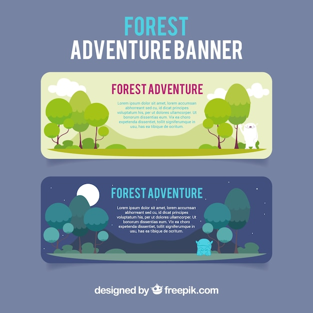 Banners about forest adventure