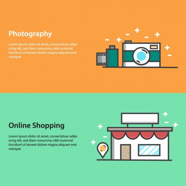 Banners about photography and online shopping Free Vector