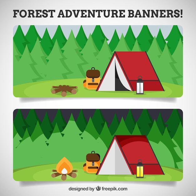 Banners about the camping in the forest