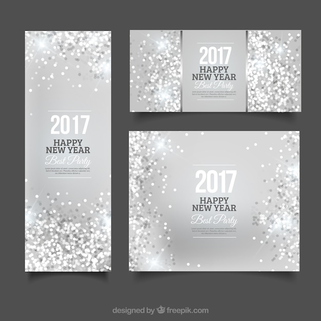 Banners and silver leaflet of new year\'s\ party