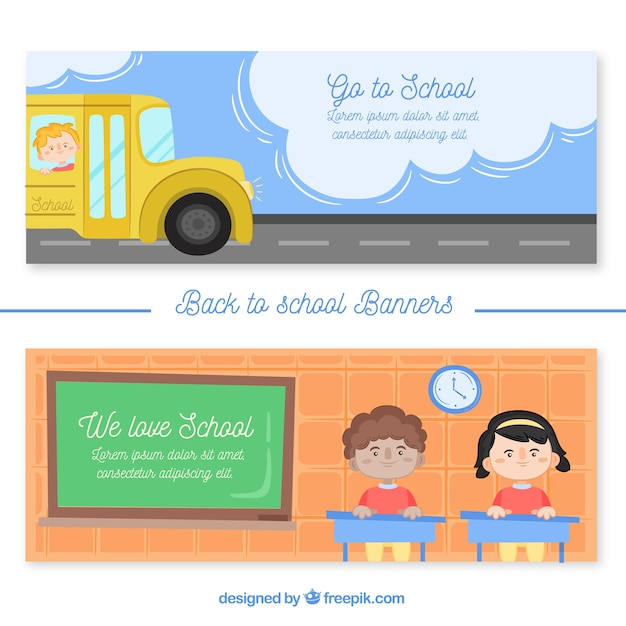 Banners back to school with buses and children in class