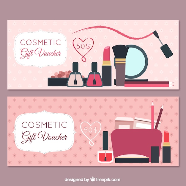 Banners of beauty products Free Vector