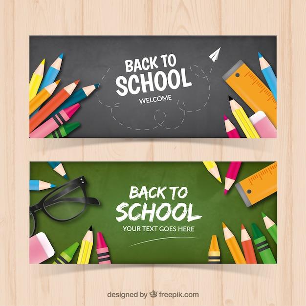 Banners of blackboards with pencils Premium Vector