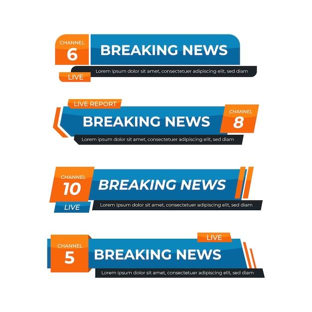速報ニュースのバナーブルーとオレンジ 無料ベクター