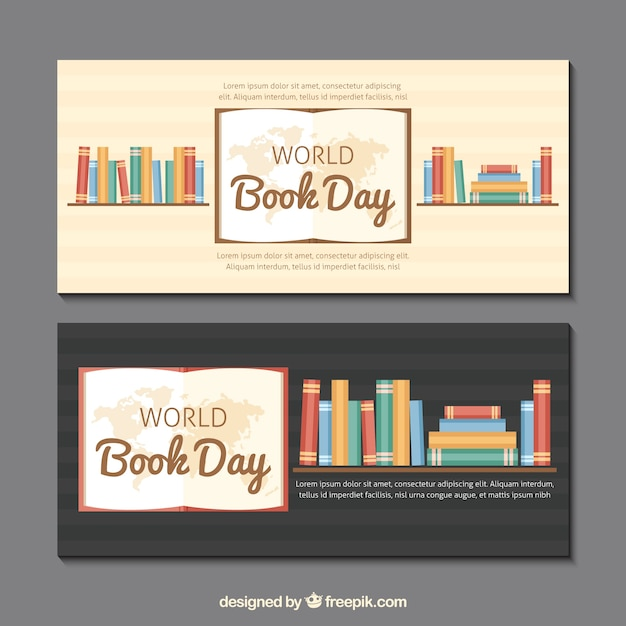 Banners Book Shelves With Books In Flat Design Vector