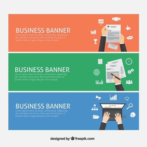 Banners of business with office supplies Free Vector