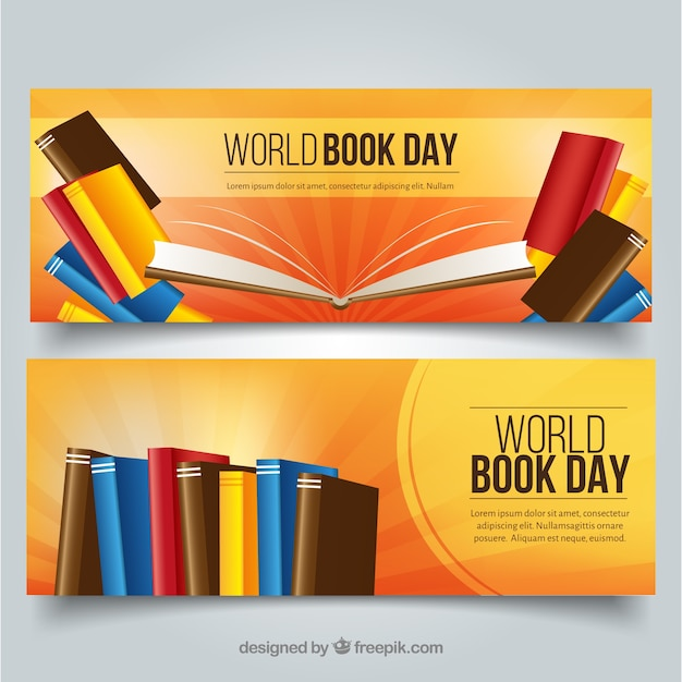 Banners for celebration of world book day Free Vector