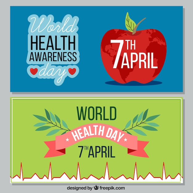 banners celebration world health day vector free download