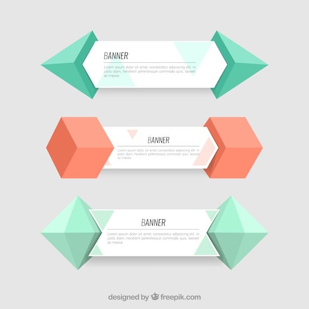 Banners collection with 3d geometric forms Premium Vector