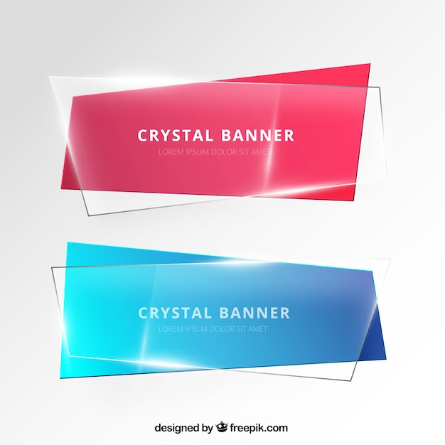 Banners in crystal style Free Vector