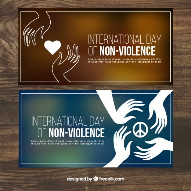 Banners for the day of non violence with blurred backgrounds Free Vector
