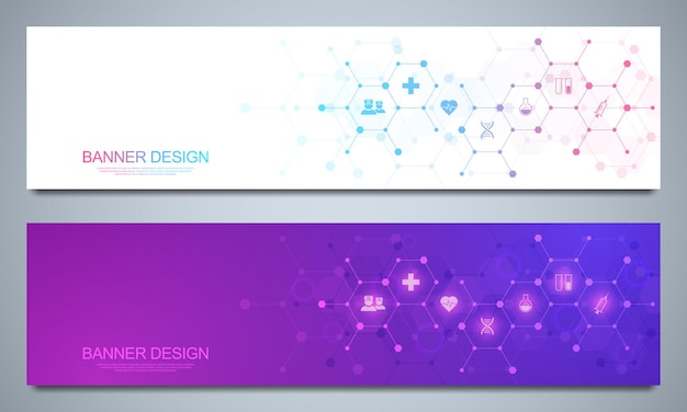Banners design template for healthcare and medical decoration with flat icons and symbols Premium Vector