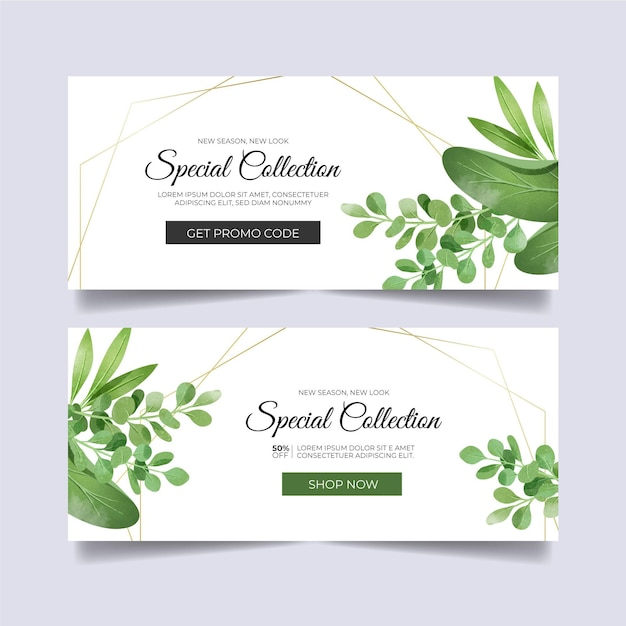 Banners designs with floral ornaments Premium Vector