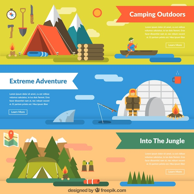 Banners of different adventures Free Vector
