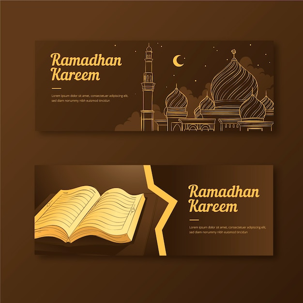 Banners drawing with ramadan Free Vector