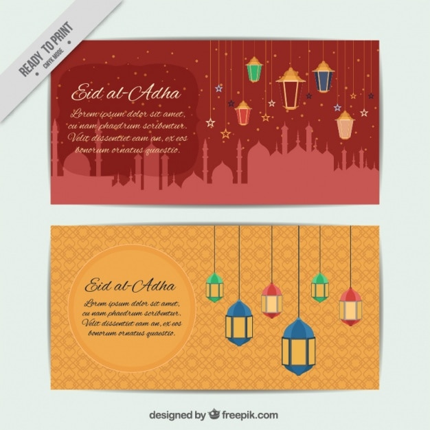 Banners Of Eid Al Adha With Lanterns Vector Free Download