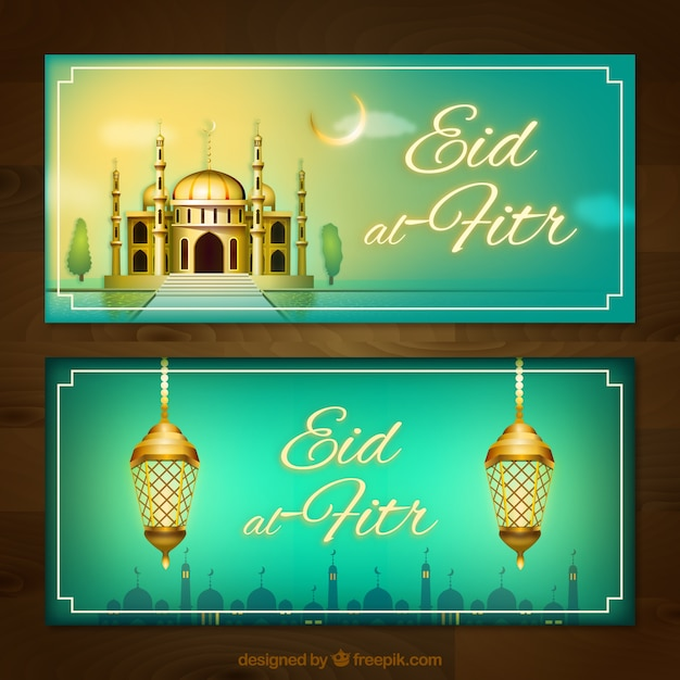 Banners of eid al fitr with mosque and lamps Free Vector