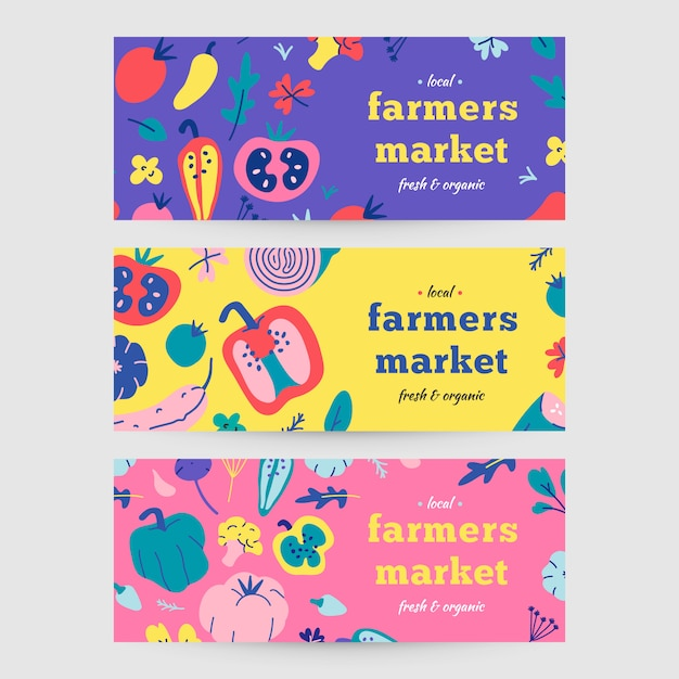 Banners for farming market Premium Vector