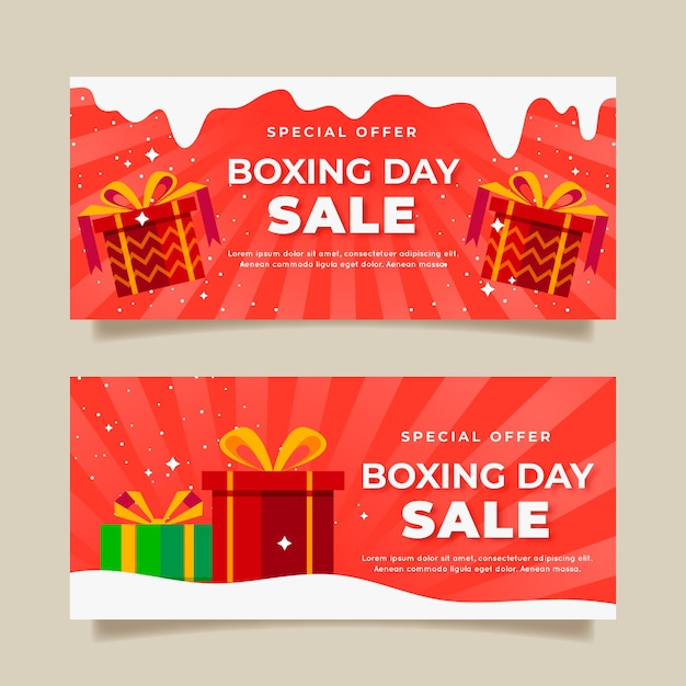 Banners flat design boxing day sale Free Vector