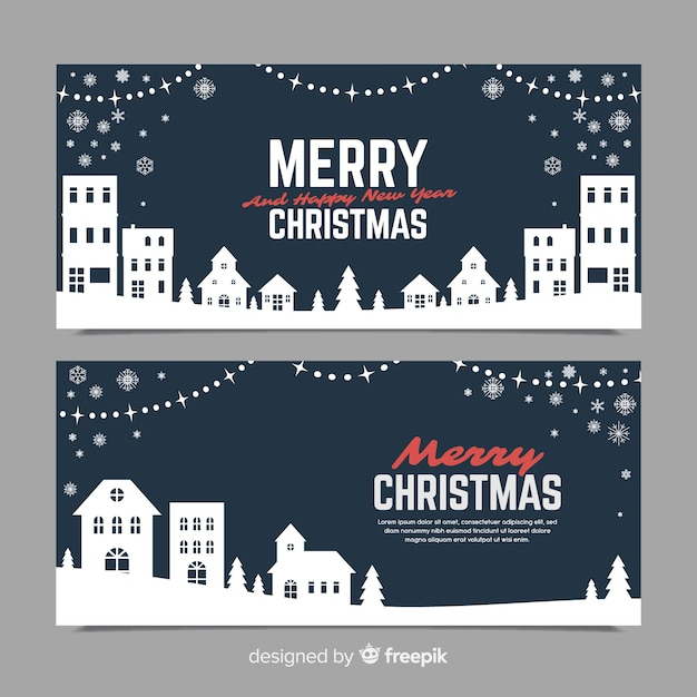 Banners in flat style with christmas town Free Vector