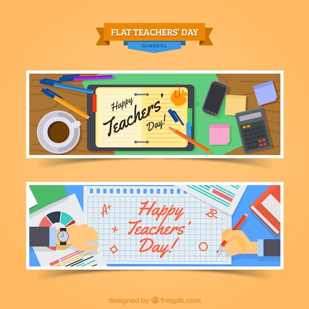 Classroom Web Design ~ Banners for a happy teacher s day vector free download