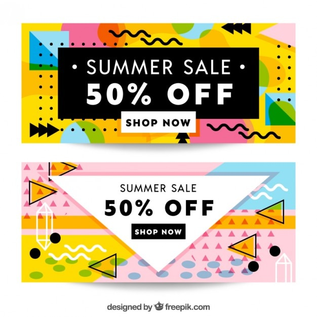 Banners for summer sales, memphis style Free Vector