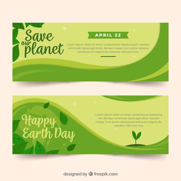 Banners for the earth day Free Vector