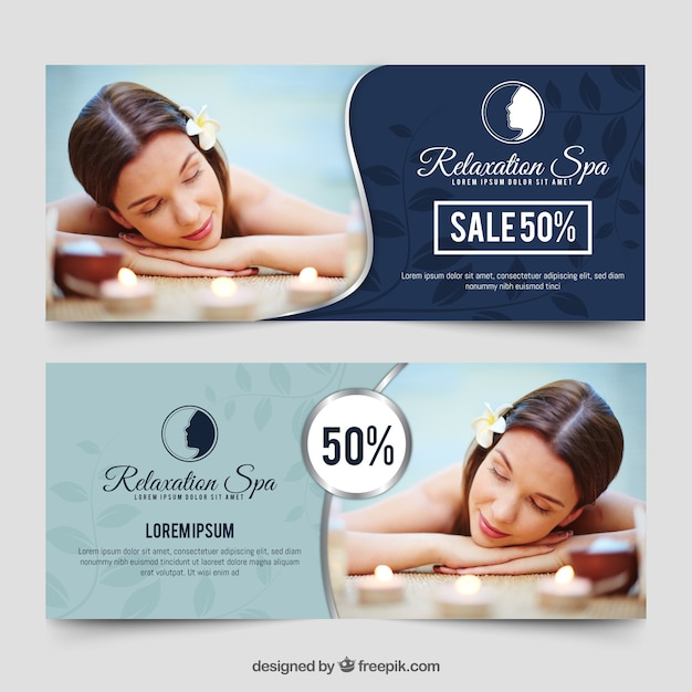 Banners for the spa with a photo Free Vector