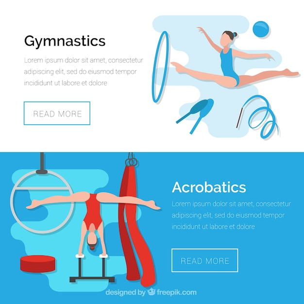 Banners of gymnastics and acrobatics Free Vector