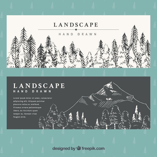 Banners hand drawn landscape Free Vector