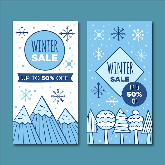 Banners hand-drawn winter sale Free Vector