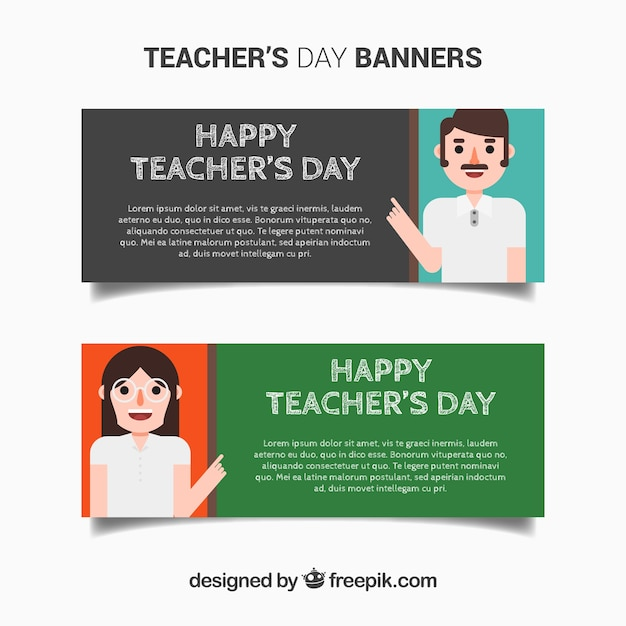 Banners of happy teacher's day Free Vector
